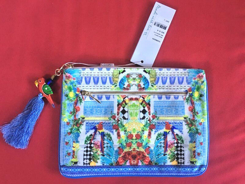 New CAMILLA FRANKS MASKING MADNESS SMALL CANVAS CLUTCH