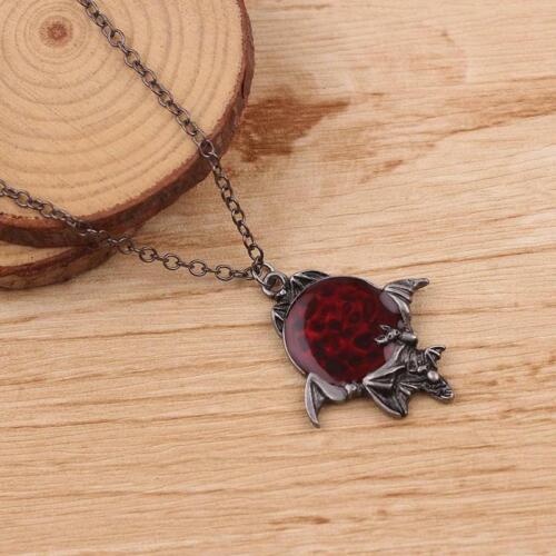 """The Vampire Diaries"" Ruby Enamel Pagan Pendant /& Chain Flying Bat Gothic"
