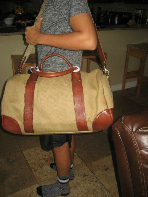 Polo Ralph Lauren Duffle Overnight Gym Canvas Bag - Khaki   Brown for sale  online  fd69ede5dceea