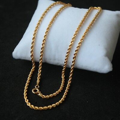 18K Gold 2mm Open Link Jewelry Necklace 17 Inch