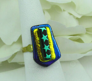 Fused-glass-cocktail-ring-dichroic-blue-gold-stars-adjustable-r192-MWeil