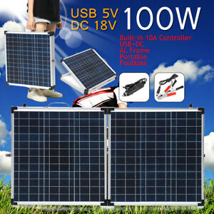Suitcase-Portable-100W-Folding-Solar-Panel-Kit-amp-10A-Controller-for-12V