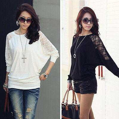 Women's Batwing Top Dolman Casual Lace T-Shirt Blouse Black/White Long Sleeve