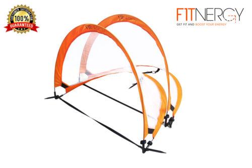 Pop Up Soccer Goal by F1TNERGY 2 Premium Foldable Durable Orange Portable Nets