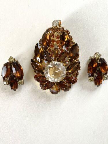 Vintage Crystal Cluster Bead Pin Brooch Earring Set Topaz Root Beer AB Mid Century Jewelry Gift VivianJoel.com
