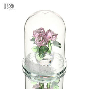 New-Crystal-Pink-Rose-Figurines-Living-Room-Wedding-Mother-039-s-Day-Gift-Ornaments