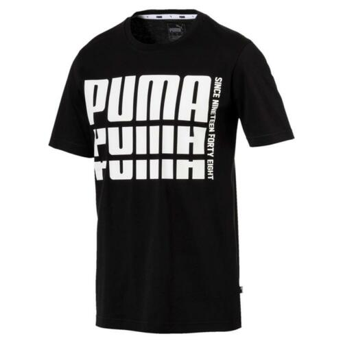 Puma Rebel Bold Basic Tee Shirt Cotton Black Fitness M L XL XXL NEU