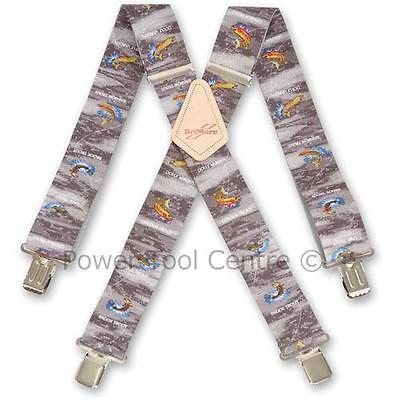 """Brimarc Mens Heavy Duty Trouser Suspender 2"""" 50mm Wide Trout Fisherman's Braces"""