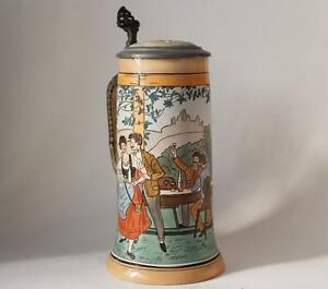 antique german etched beer stein by j w remy 1218 flirting scene c