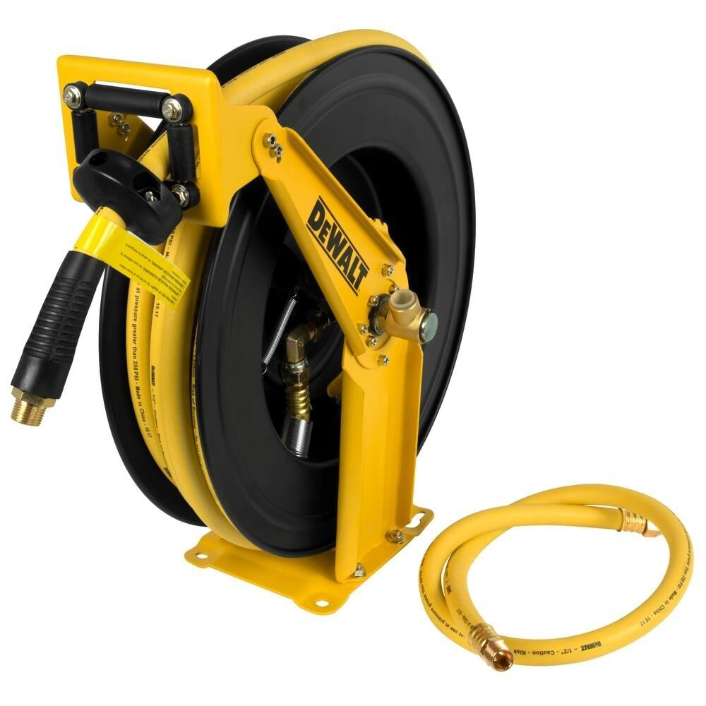 Dewalt 1 2 in. 50 ft Retractable Auto Air Compressor Pneumatic Hose Reel Tool