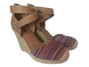 Charlotte-Russe-Red-Multi-Color-Fabric-Espadrille-Wedges-Sz-7