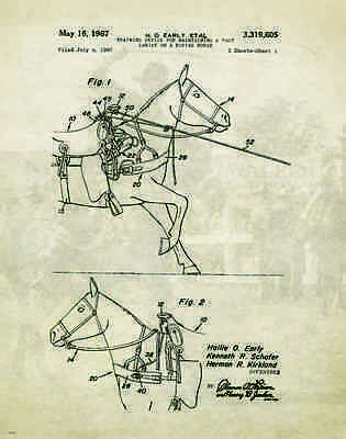 Vintage Horse Carriage Patent Print Western Cowboy Saddle Office Wall Art Decor