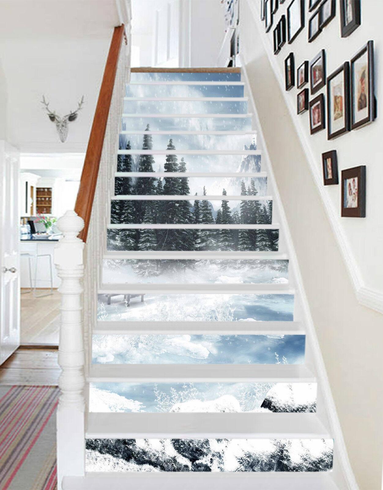 3D Schöne Schnee 28 Stair Risers Dekoration Fototapete Vinyl Aufkleber Tapete DE