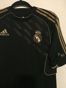 quality design dc934 91449 Details about Official Adidas Real Madrid training shirt Jersey Small Black  Gold Climacool