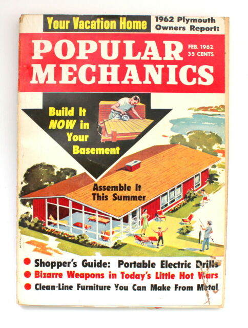 Popular Mechanics Magazine FEBRUARY 1962 Build a Vacation Home Furniture to Make