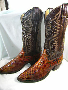 71daa2b91bc Details about Rare!! Vintage JUSTIN Python Snake Cowboy Boots USA - (8 D  Men) (9.5 Women)