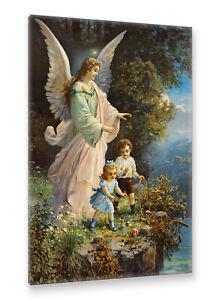 Postereck-Leinwand-0152-Schutzengel-und-Kinder-Altes-Gemaelde-Engel-Religion