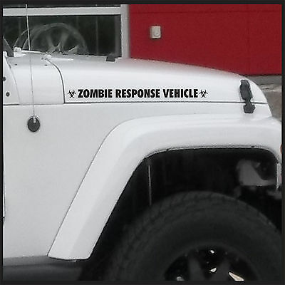 Zombie Response Vehicle Sticker / Decal for jeep 4x4 Truck Car - Matte Black