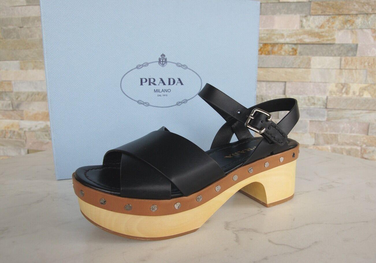Prada madera plataforma sandalias zapatos sandalias Clogs negro nuevo PVP