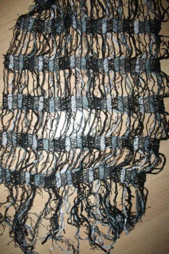 Großer Schal Netz Gitter Fransen Mit Bändchengarn Schwarz Grau 35 x 158 cm Neu!