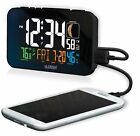 C89201 La Crosse Technology Multi-Color Atomic Alarm Clock USB Charging - Black