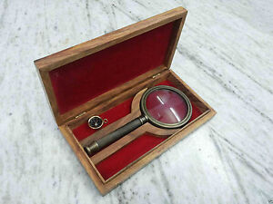 Antique-Brass-Magnifier-With-Wooden-Box-Vintage-Collectible