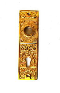 Oriental-Urn-Brass-Door-Plate-with-Floral-Accent-Antique-Style-Hardware