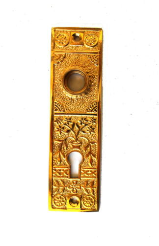 Oriental Urn Brass Door Plate with Floral Accent Antique Style Hardware