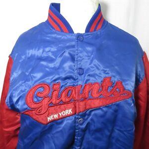 2ffdcc46 Vintage New York Giants S Reebok Blue Red Satin Bomber NFL Jacket ...