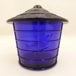 NOS-Vintage-IMPERIAL-COBALT-BLUE-Glass-BIRD-CAGE-Covered-JAR-Canister-SUMMIT