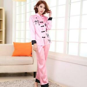 94b1b381e9af Image is loading New-Chinese-Style-Women-Silk-Pajamas-Sets-Sleepwear-