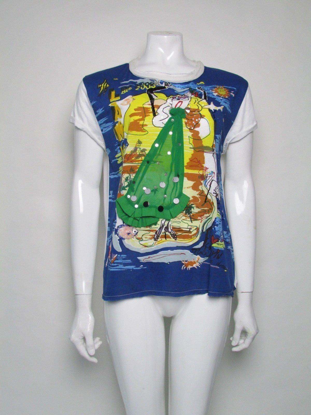LANVIN manica corta T Shirt Shirt Shirt Top Taglia S Uk 8 SILK dettaglio Bnwts prezzo consigliato 435b75