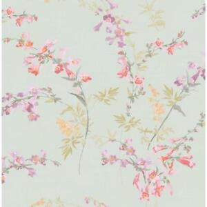 Wallpaper-Designer-Purple-Pink-Coral-Yellow-Green-Trumpet-Floral-on-Light-Green