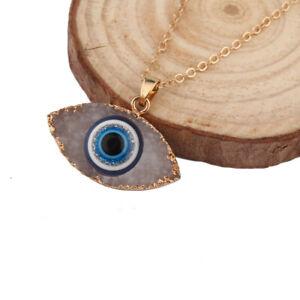 Blue-Evil-Eye-Druzy-Stone-Pendant-Necklace-Resin-Quartz-Geode-Crystal-Jewelry