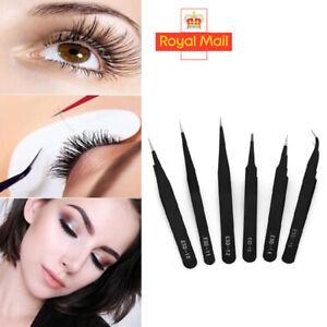 6 x Black Individual Eyelash Tweezers Curved & Straight ...