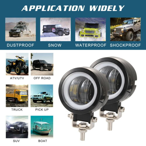 3inch 40W Motorcycle Headlight Round LED Headlamp Work Light Spot Beam 6000K
