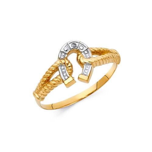 Femmes 14k Jaune Blanc or véritable fer à cheval corde vintage Nugget Fashion Ring Band