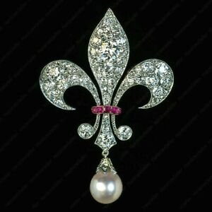 Antique 2Ct Diamond Pearl & Ruby Fleur-De-Lis Brooch Pin in 14k White Gold Over