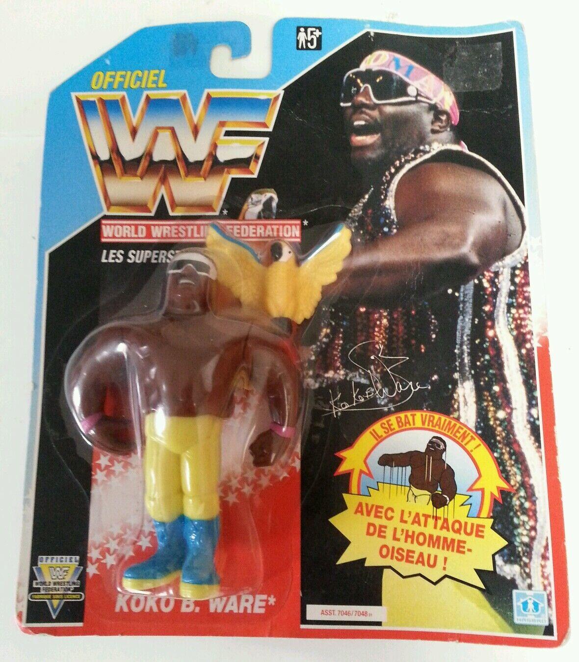WWF-Luchador Koko B. Ware VINTAGE WWF Hasbro Serie 1992 Figura de Acción 3 si usar En Blister