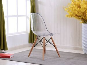 1 X Modern Eiffel Style Clear Ghost Retro Elegant Plastic Dining Lounge Chair by Ebay Seller