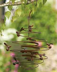 Image Is Loading Bumble Bee Hive Spiral Metal Hanging Wind Outdoor