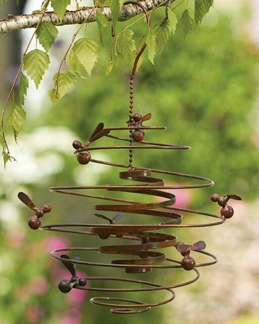 Beau Bumble Bee Hive Spiral Metal Hanging Wind Outdoor Garden Art Honey Bees  Decor