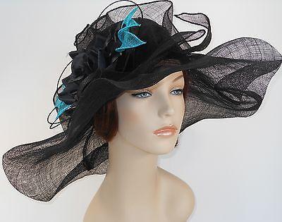New Church Kentucky Derby Wedding Sinamay Wide Brim Dress Hat S10-2618 Black