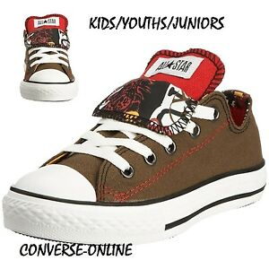 668d8252ed5c KIDS Boys Girls CONVERSE All Star GREEN DOUBLE TONGUE OX Low ...