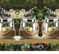 5 Rustic Rope Beach 6 Lantern Glass Mason Jar Candle Holder Wedding Table Vase