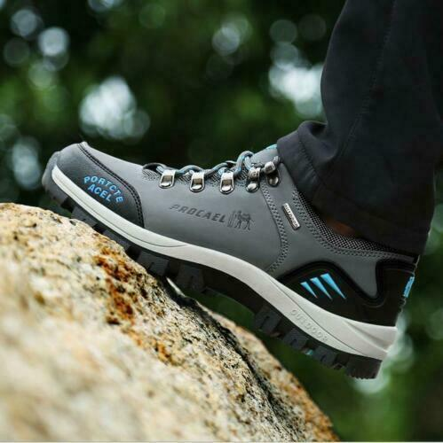 MENS LEATHER WATERPROOF WALKING HIKING TRAIL ANKLE BOOTS SPORTS ATHLETIC SHOES