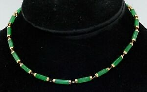 14K-gold-fancy-elegant-16-25-034-long-12-X-4mm-cylindrical-Green-jade-link-necklace