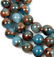 8mm Aquamarine Quartz with Pyrite / Gold Brown Vein Round Beads (24)