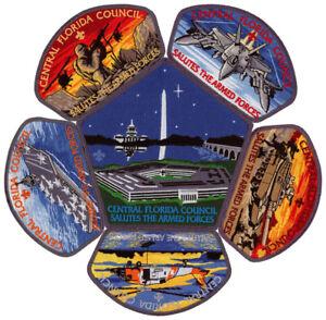 Central-Florida-Council-Military-Salutes-Armed-Forces-CSP-Patch-Set-Lot-Jamboree