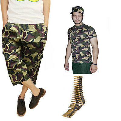 MEN/'S ARMED FORCES ARMY CAMOUFLAGE FULL SET FANCY DRESS T-SHIRT 3//4 PANTS HAT